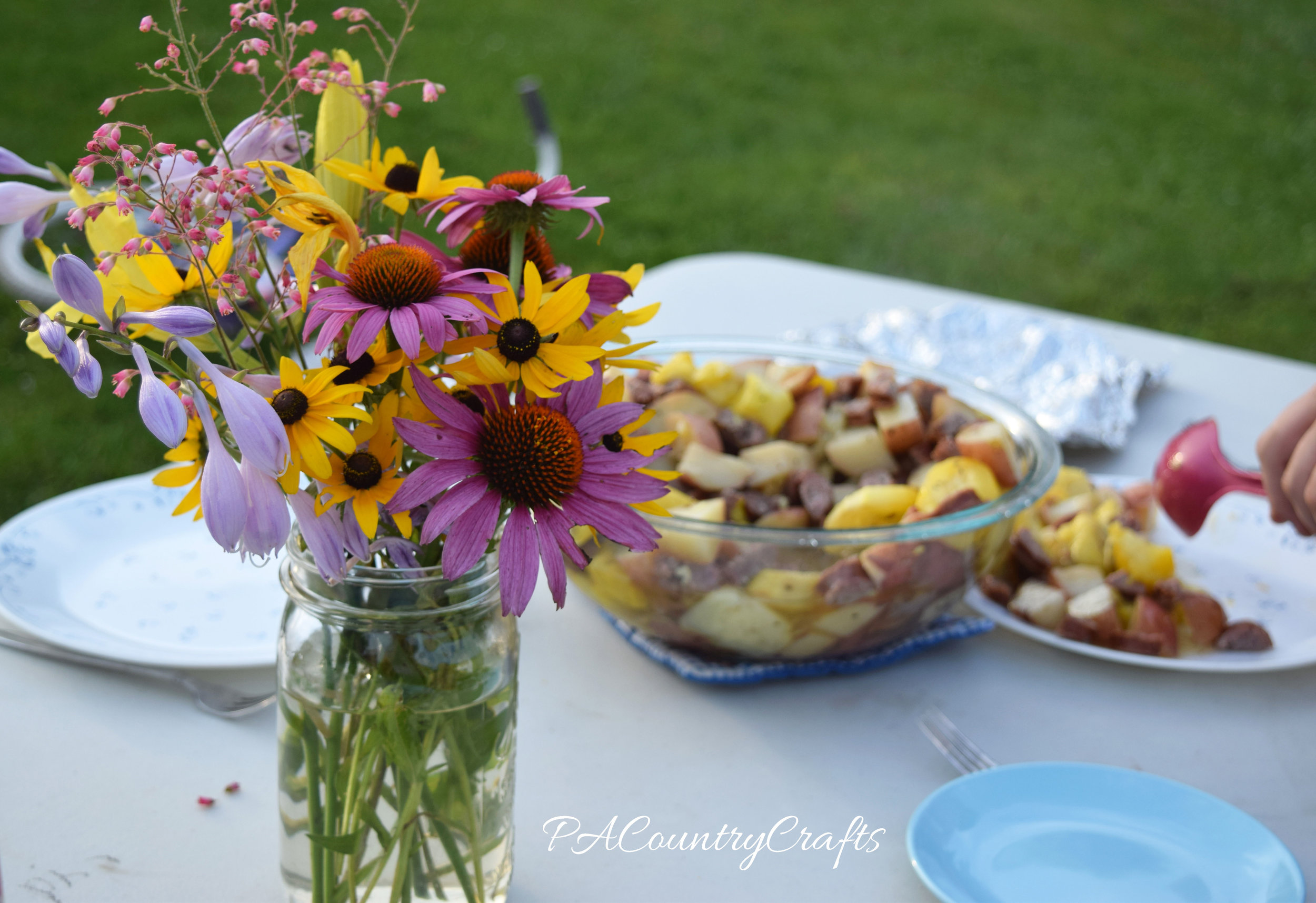 picnic and flowers