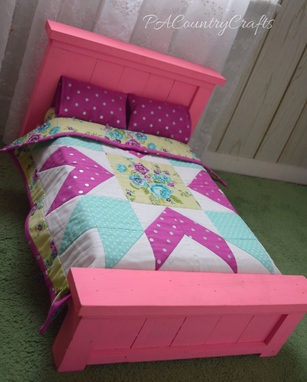 "Beautiful pink farmhouse doll bed for 18"" American Girl dolls"
