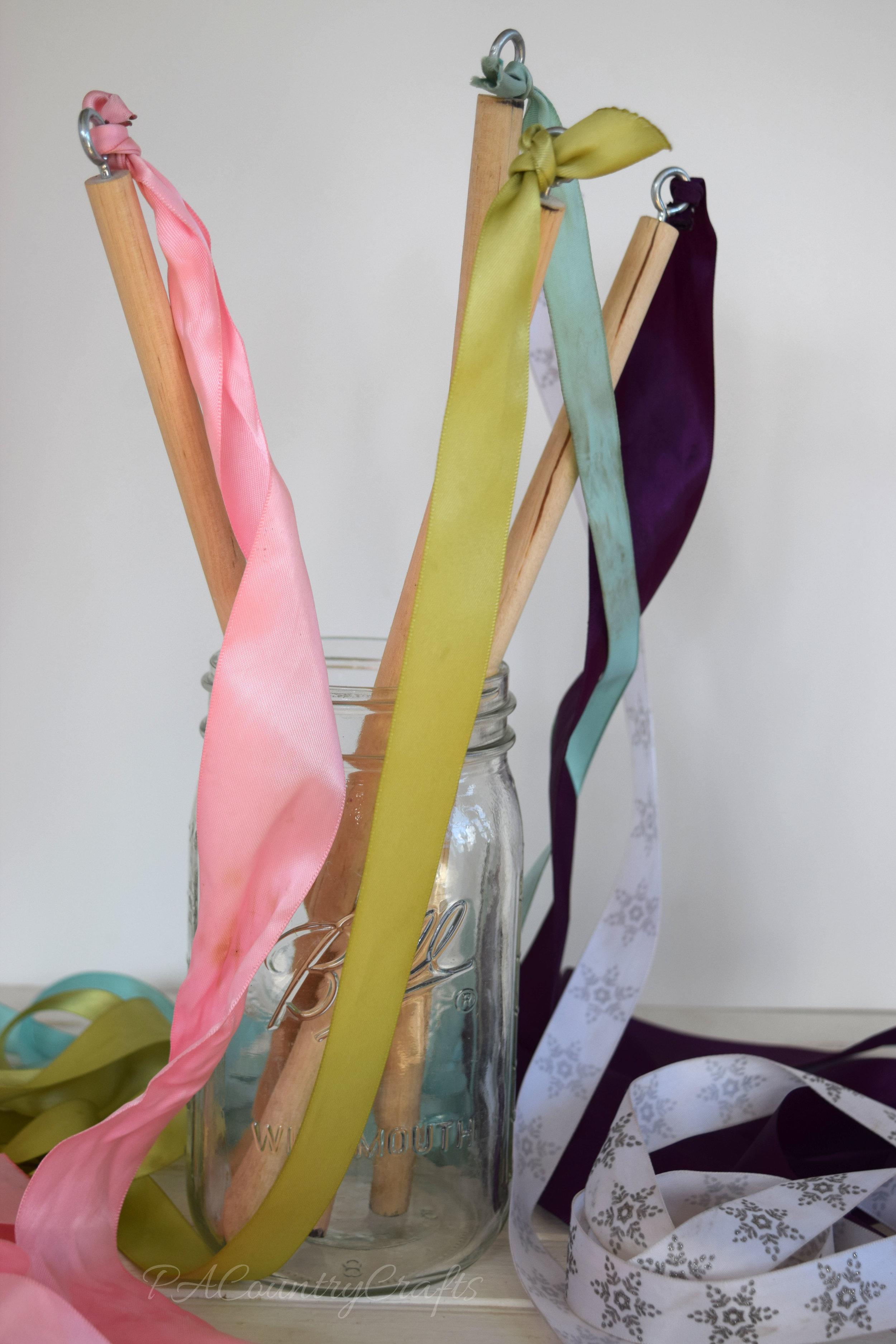 DIY Ribbon Wands- easy kids craft