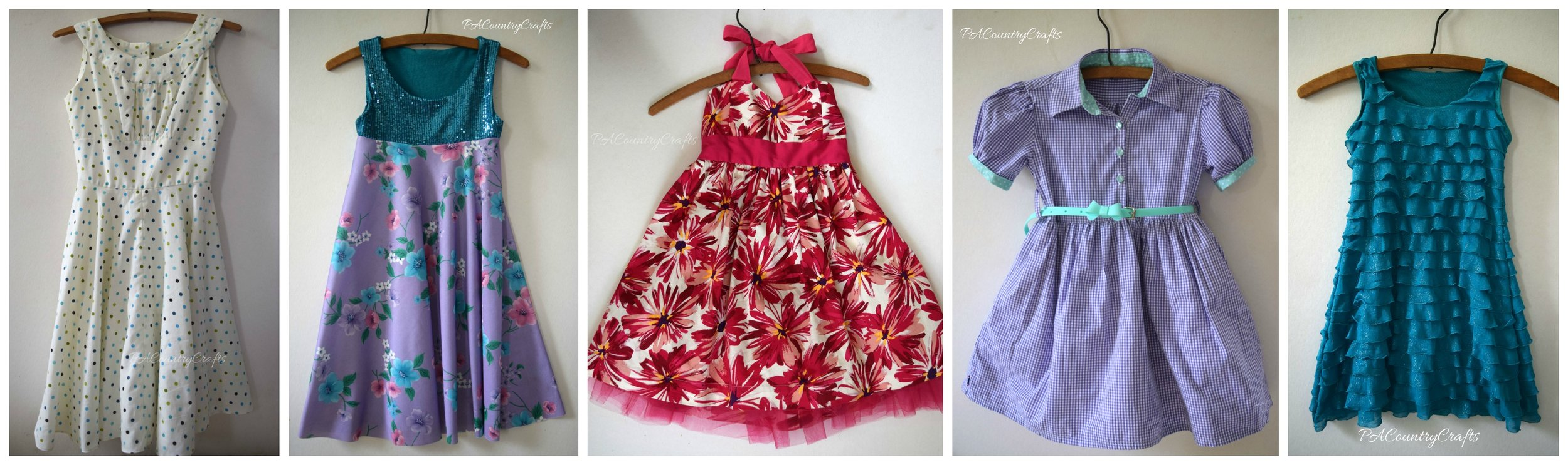 Girls dresses upcycled from thrift store sheets, shirts, etc.