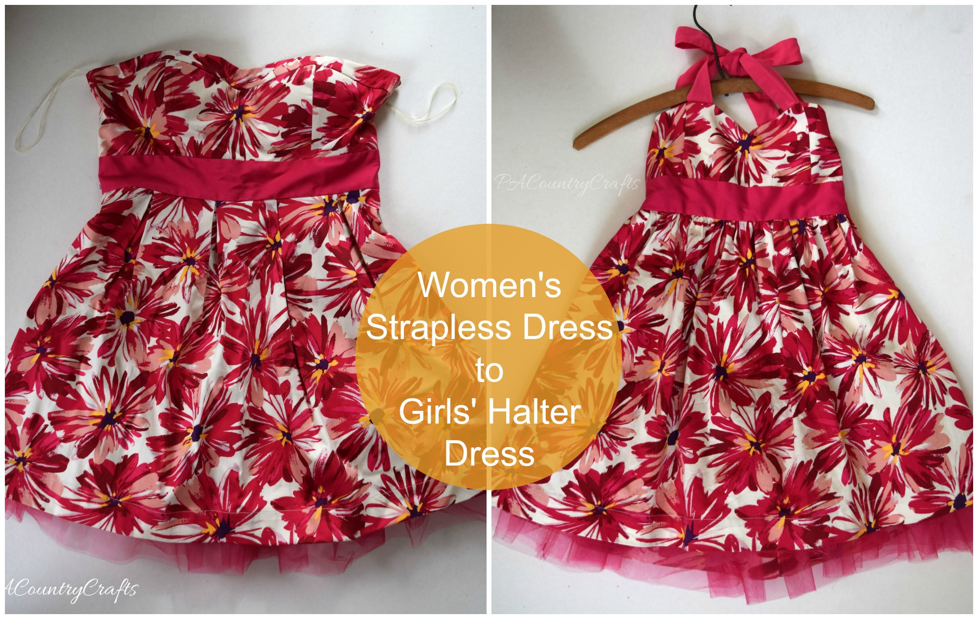 Turn a women's strapless dress into a little girls' halter dress.