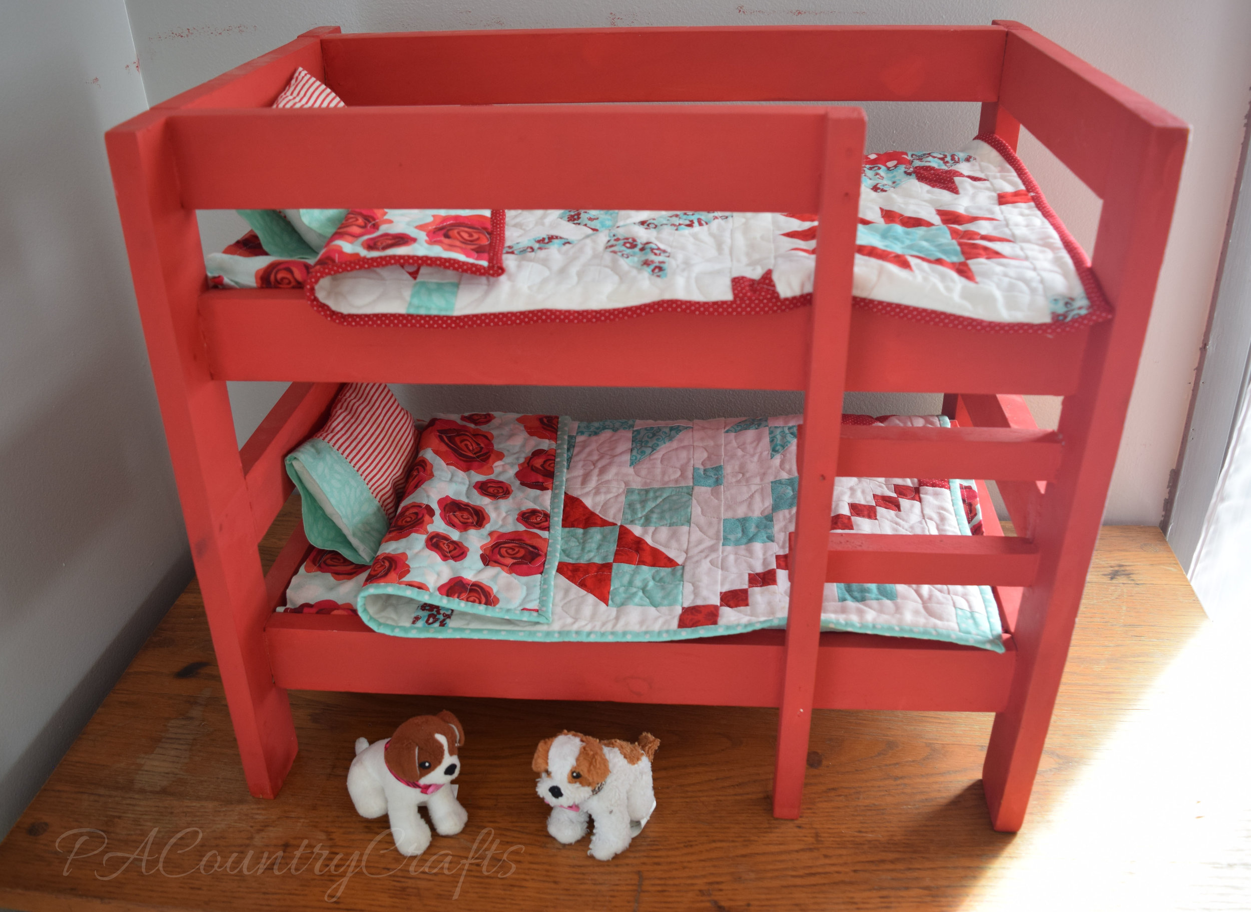 red and aqua american girl doll bunk beds