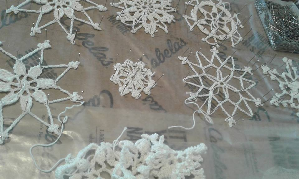 how to block crochet snowflakes