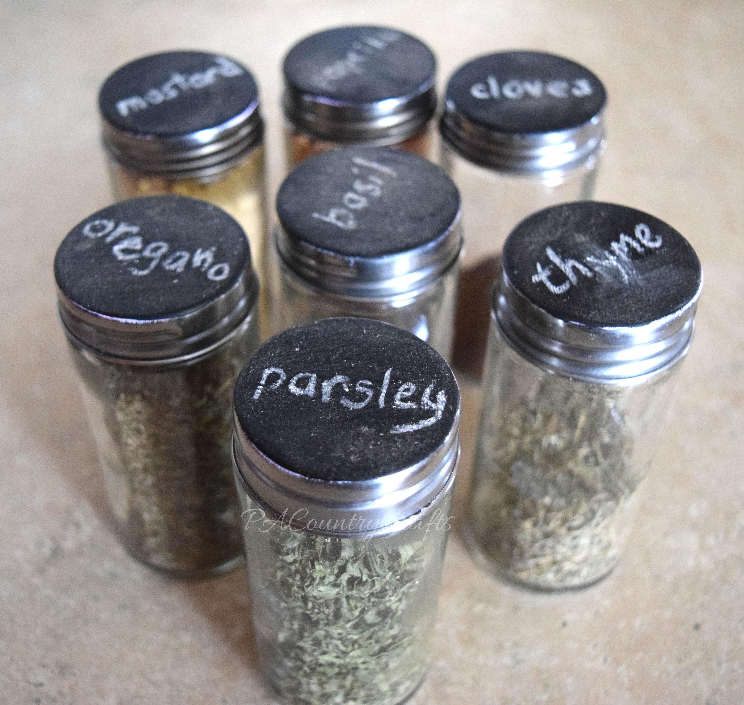 Chalkboard paint spice jars