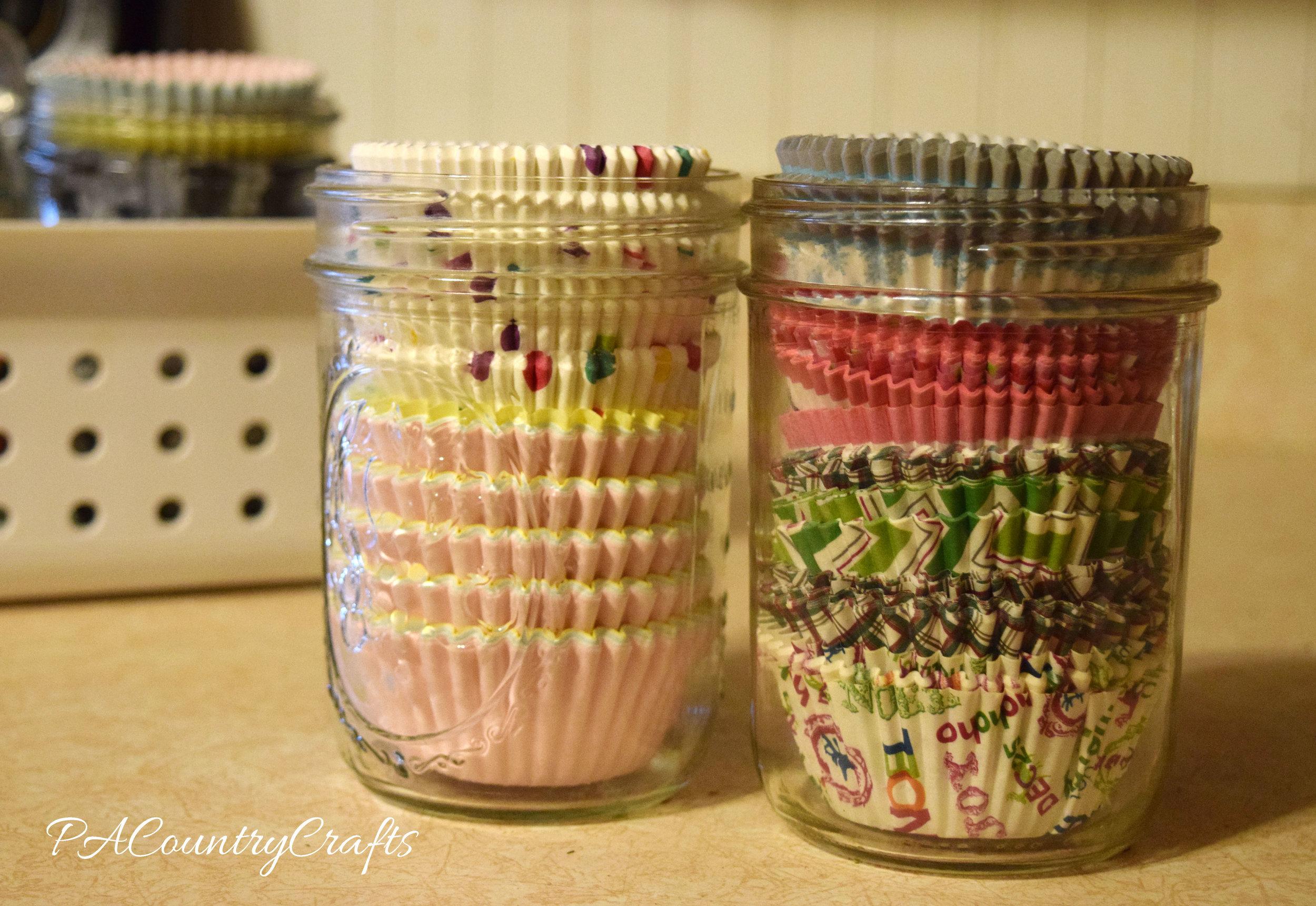 cupcake liners in mason jars