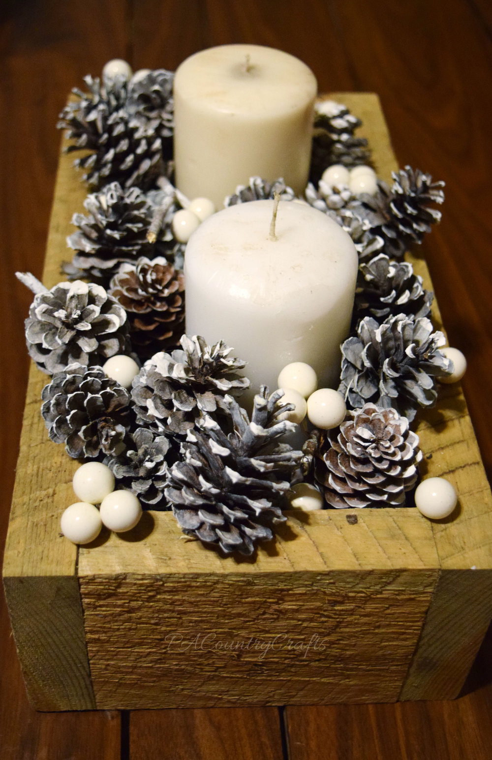 rustic winter centerpiece box