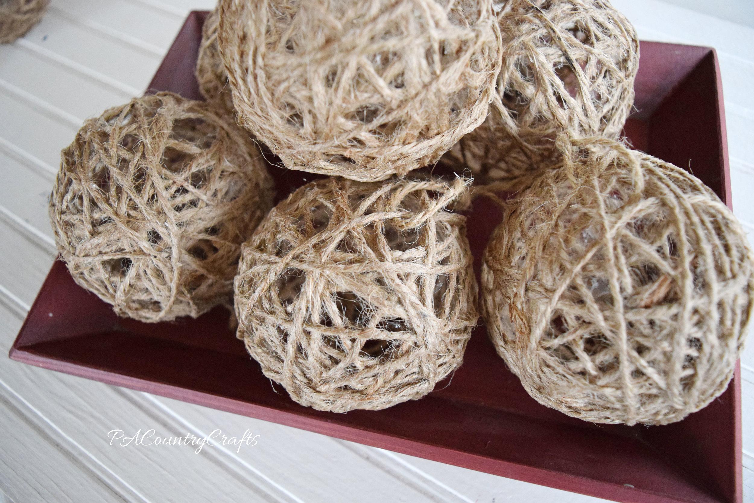 rustic twine balls for winter decor