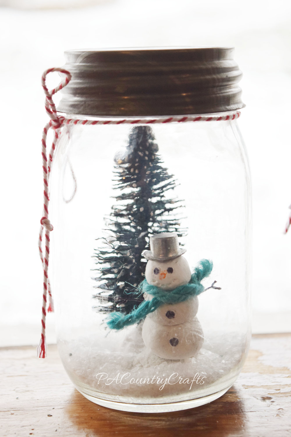 CLay Snowman Mason Jar Snow Globe