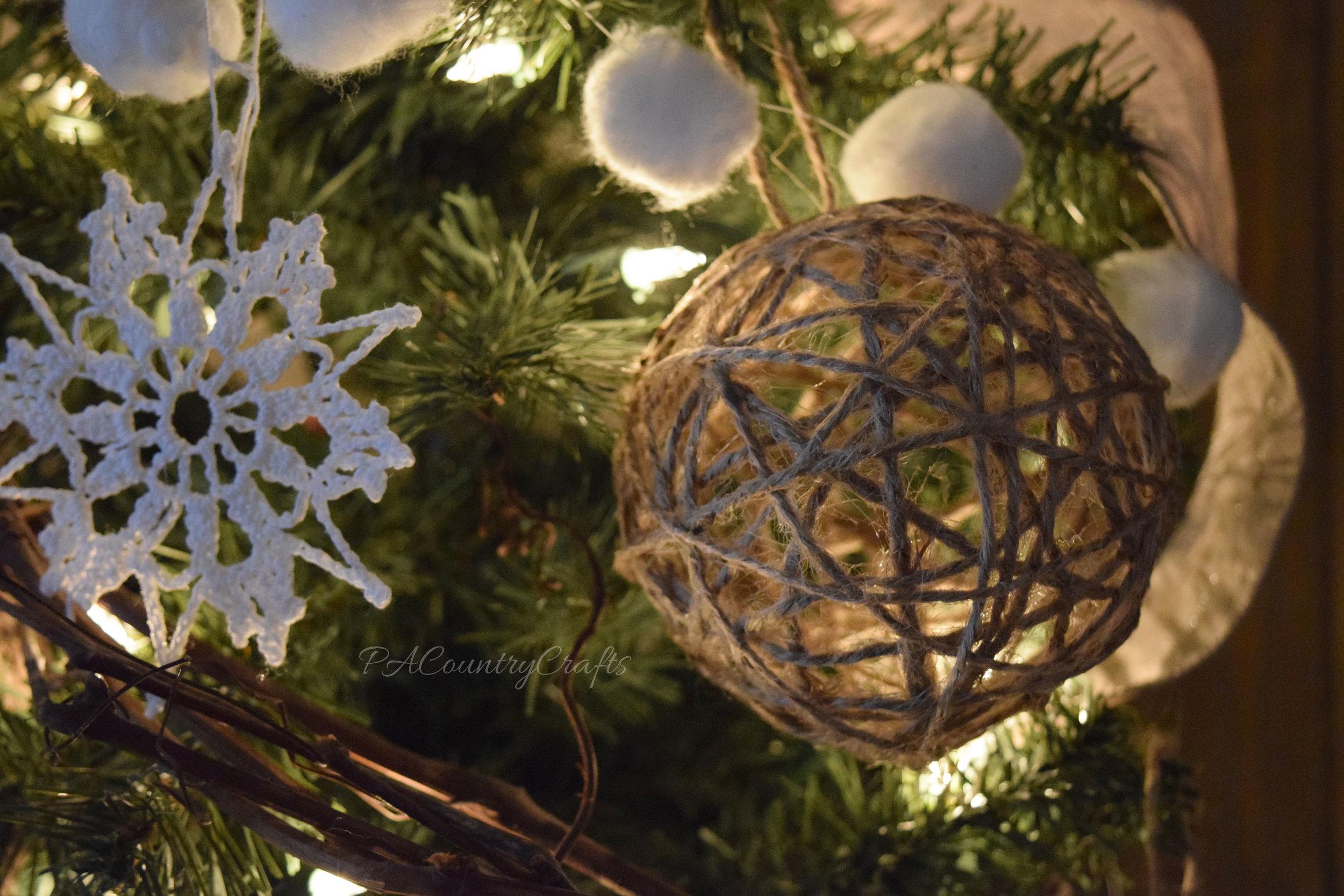 DIY twine ball Christmas tree ornaments