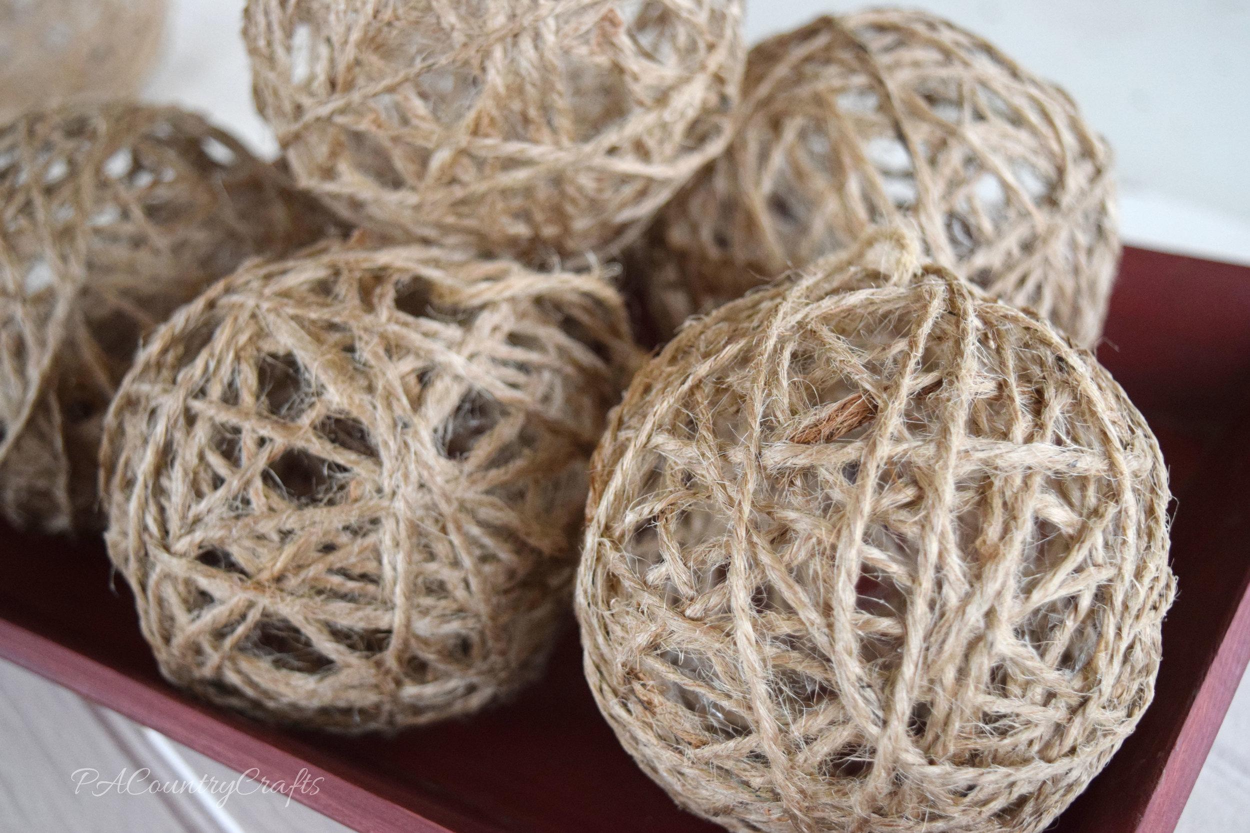 Easy to make twine ornament balls