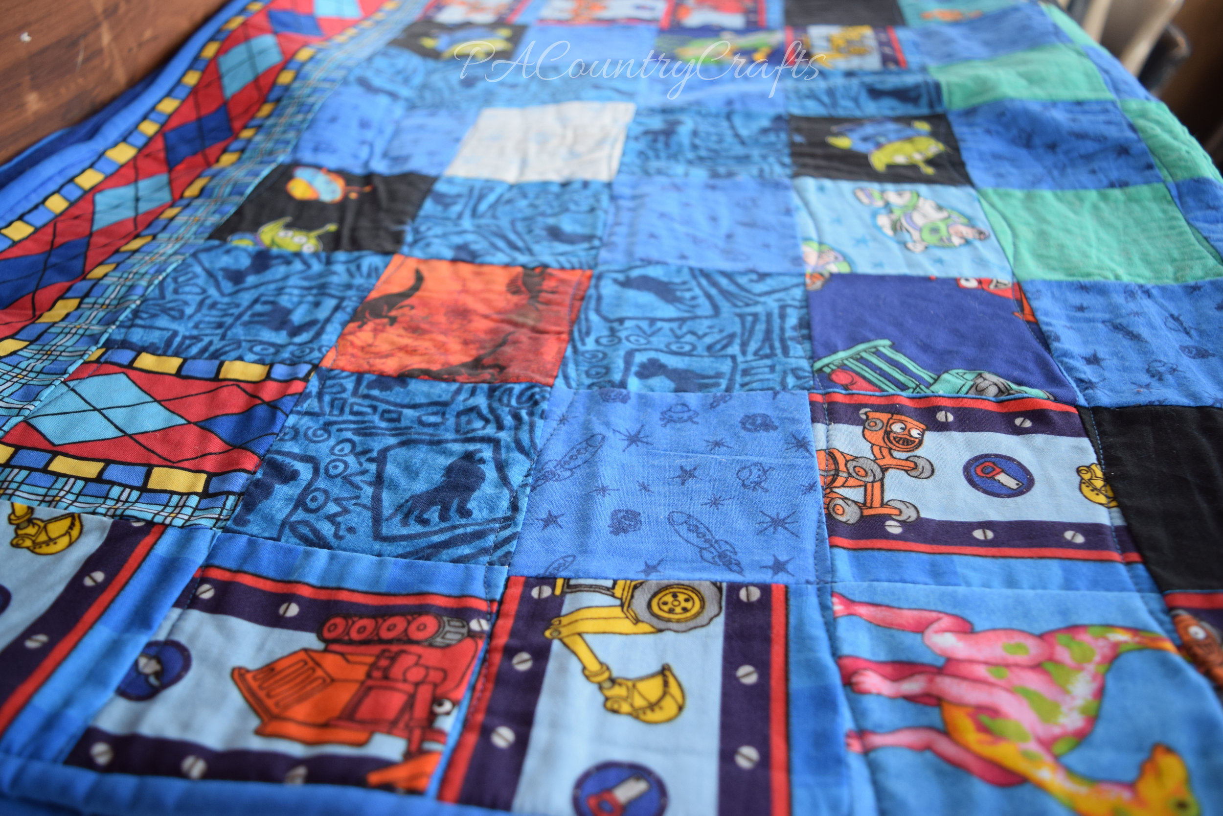 scrappy fabric squares boy quilt