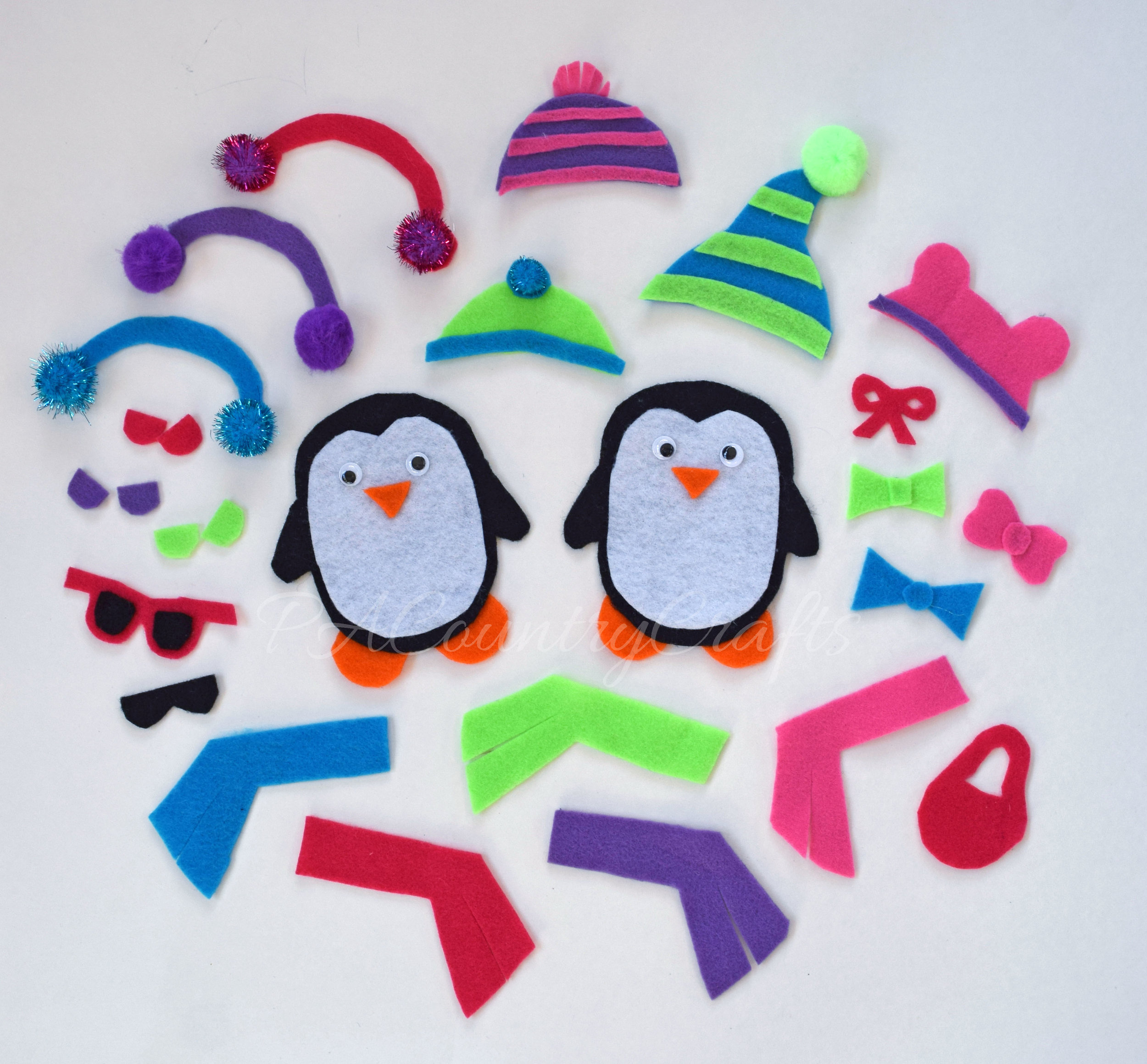 DIY felt penguin dress up game
