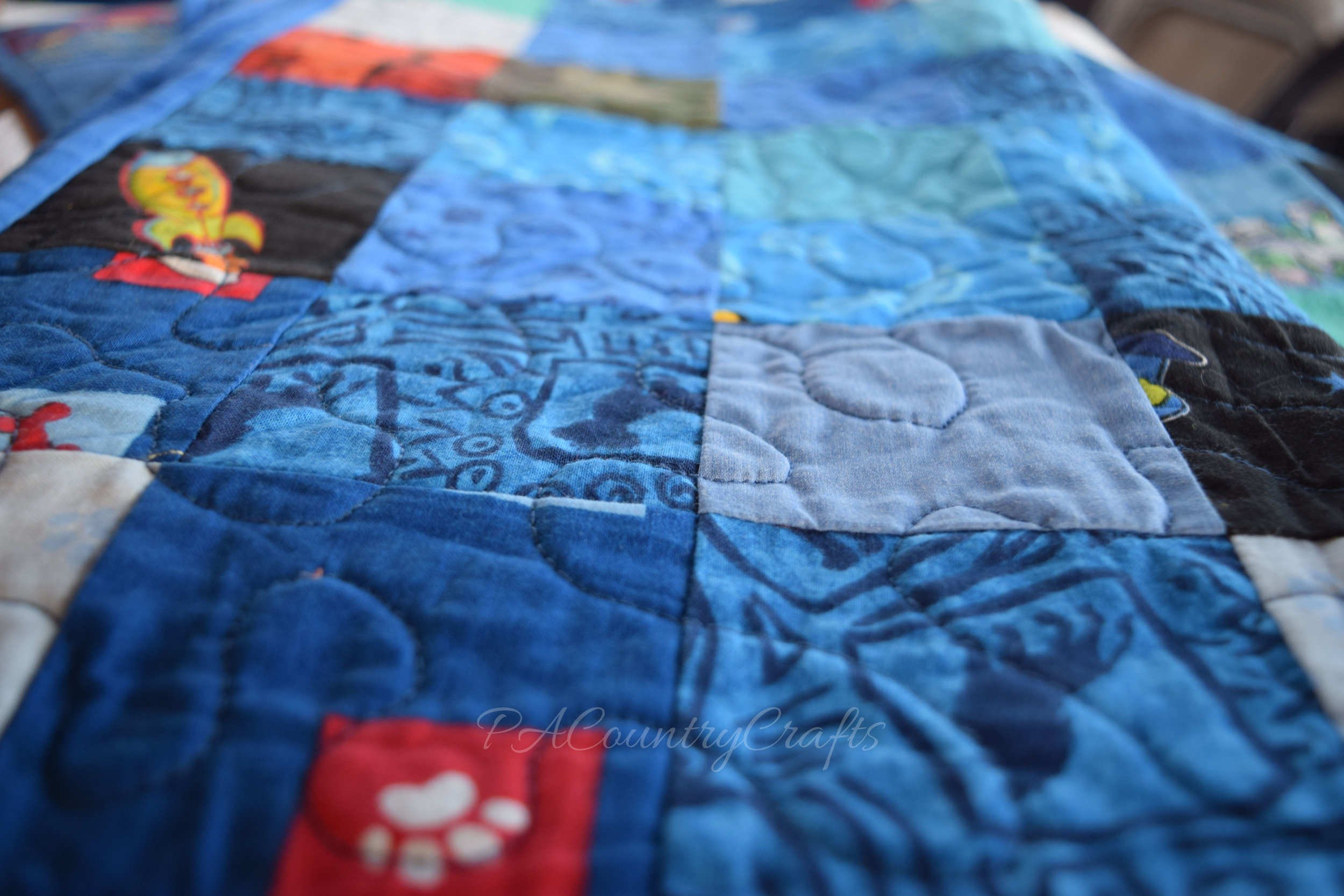 free motion quilting on scrap quilt