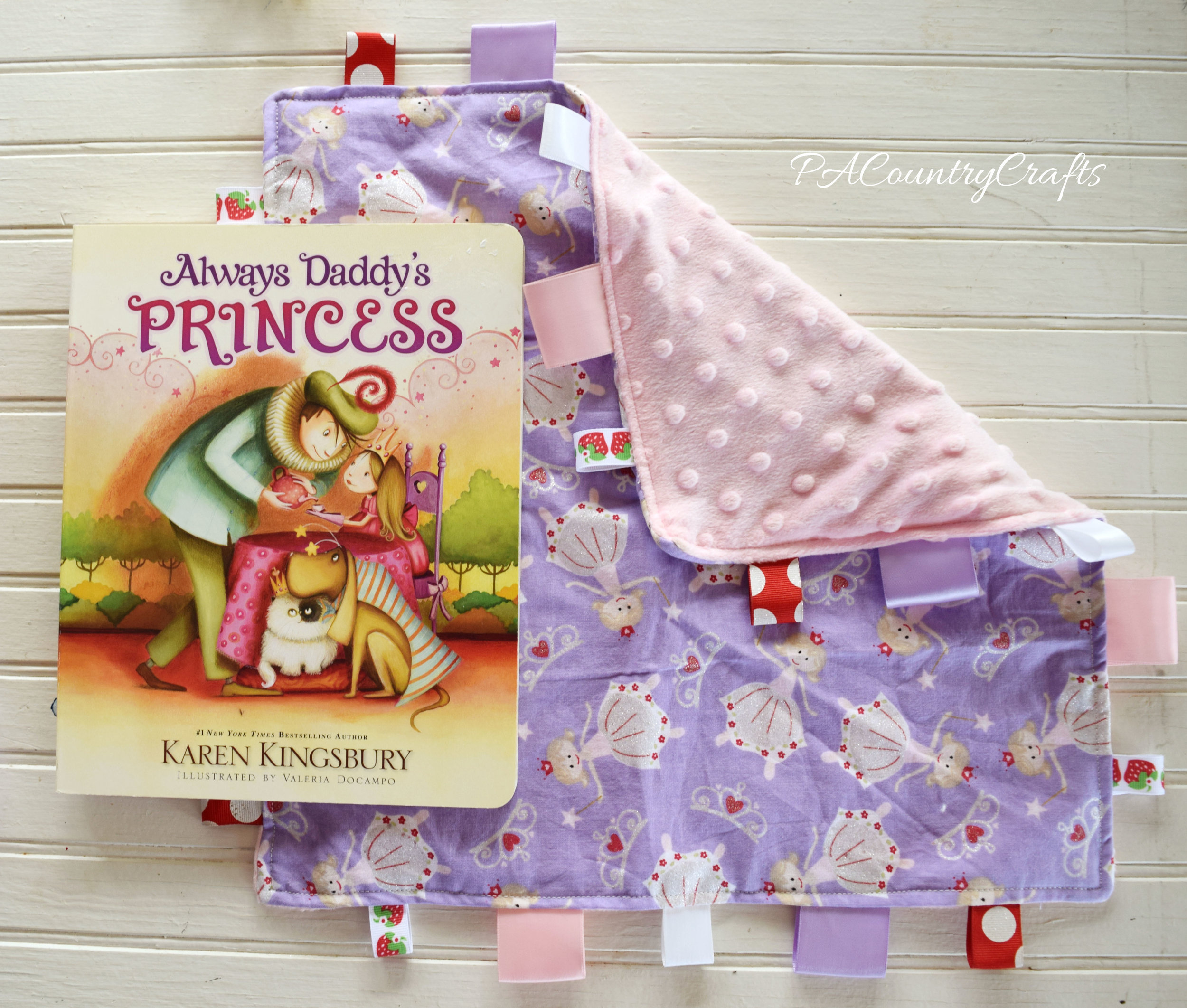 minky back princess taggy blanket