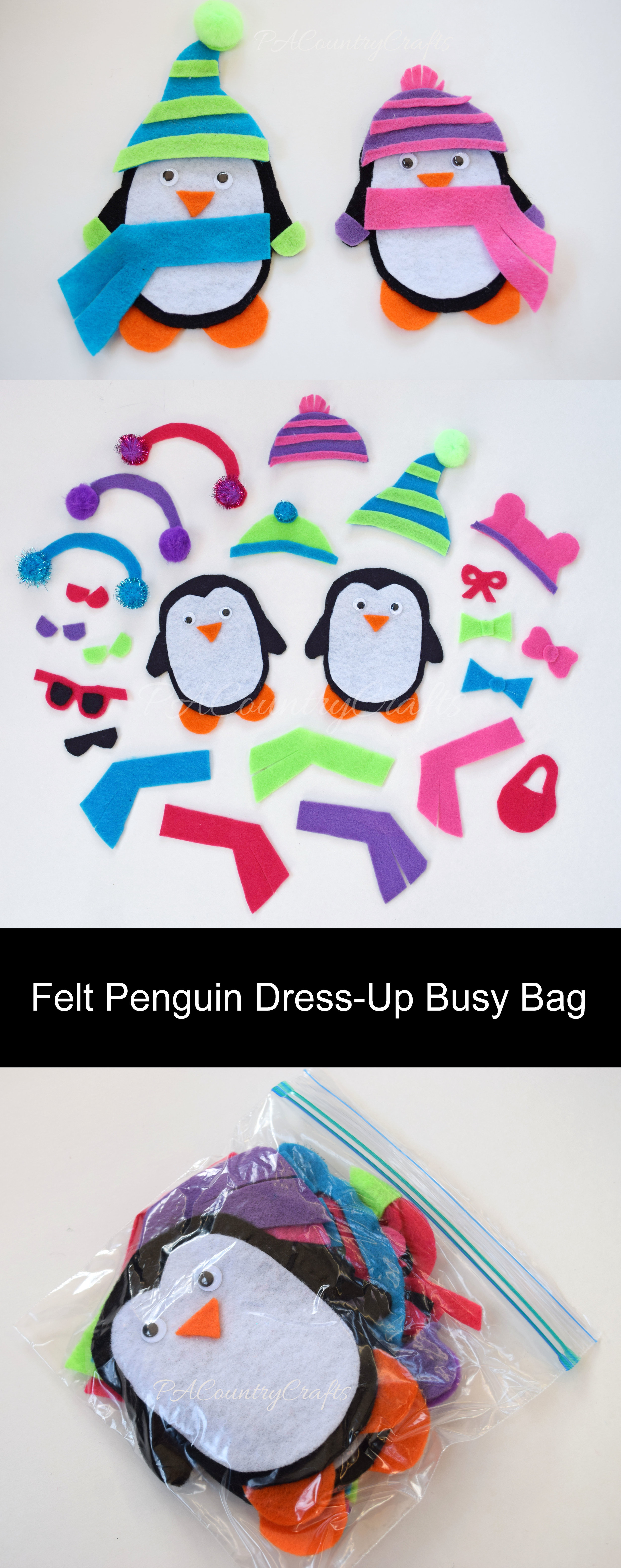 Make this penguin dress-up toddler busy bag.