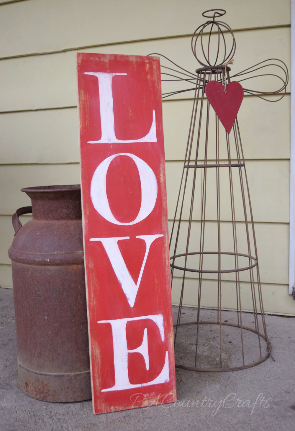 rustic valentines day porch love sign