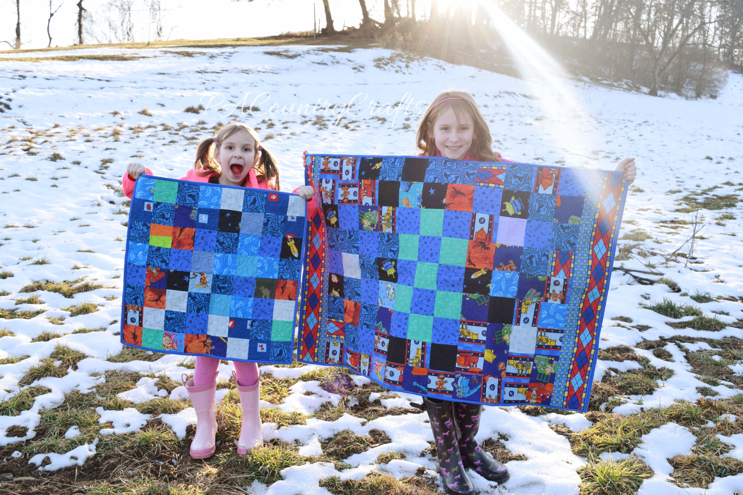 blue boys scrap quilts with lots of character fabric prints