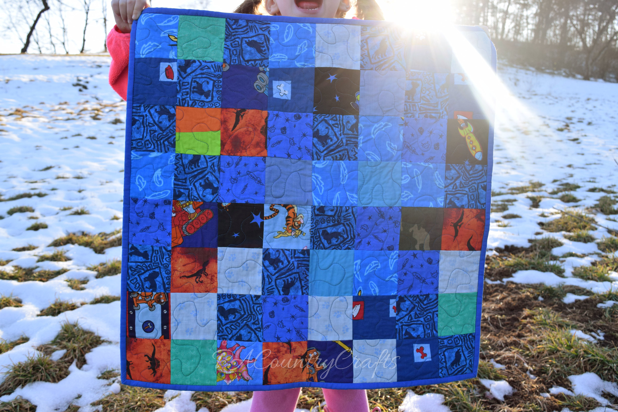 blue boys scrap square quilt