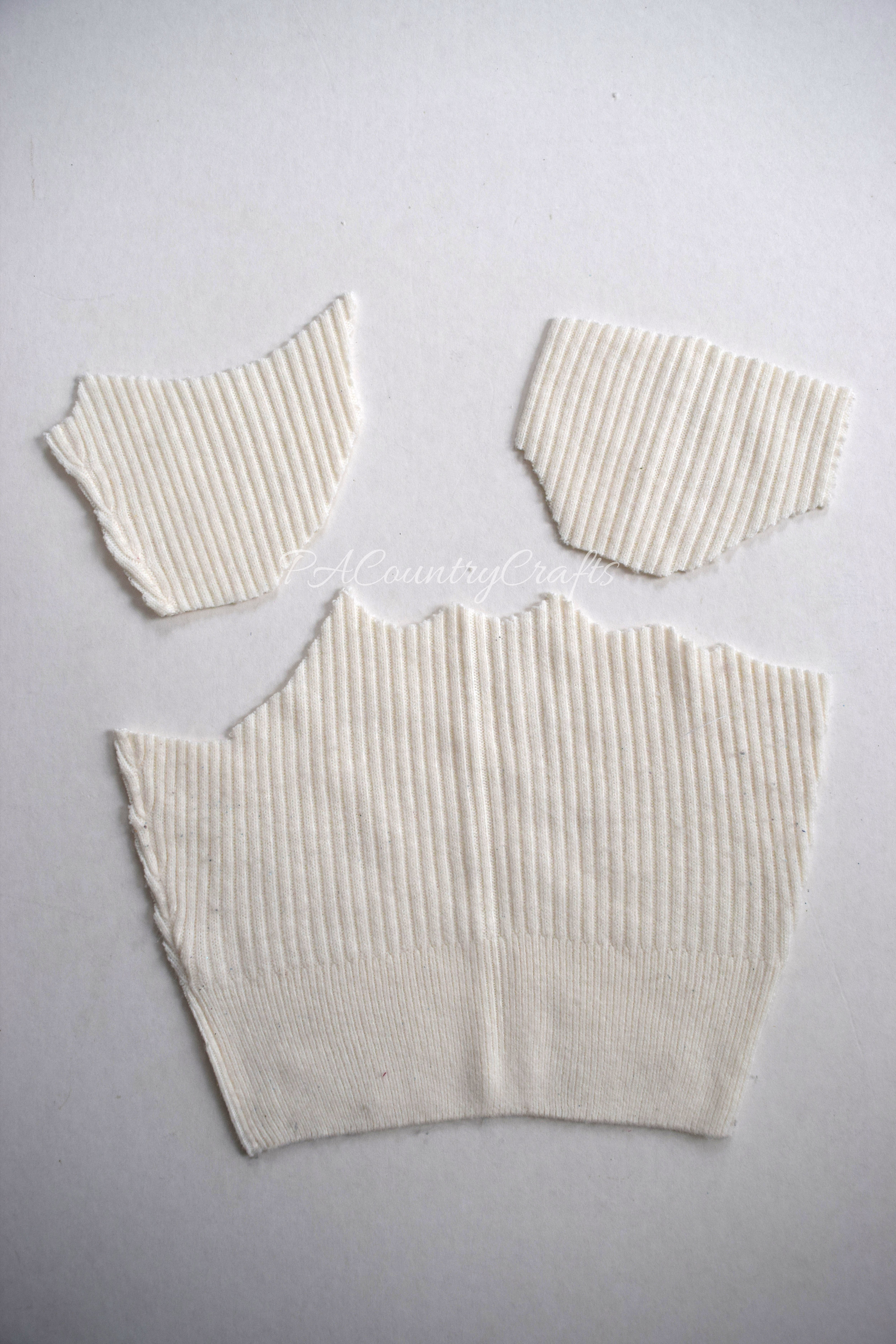 sweater scraps used to make handwarmers