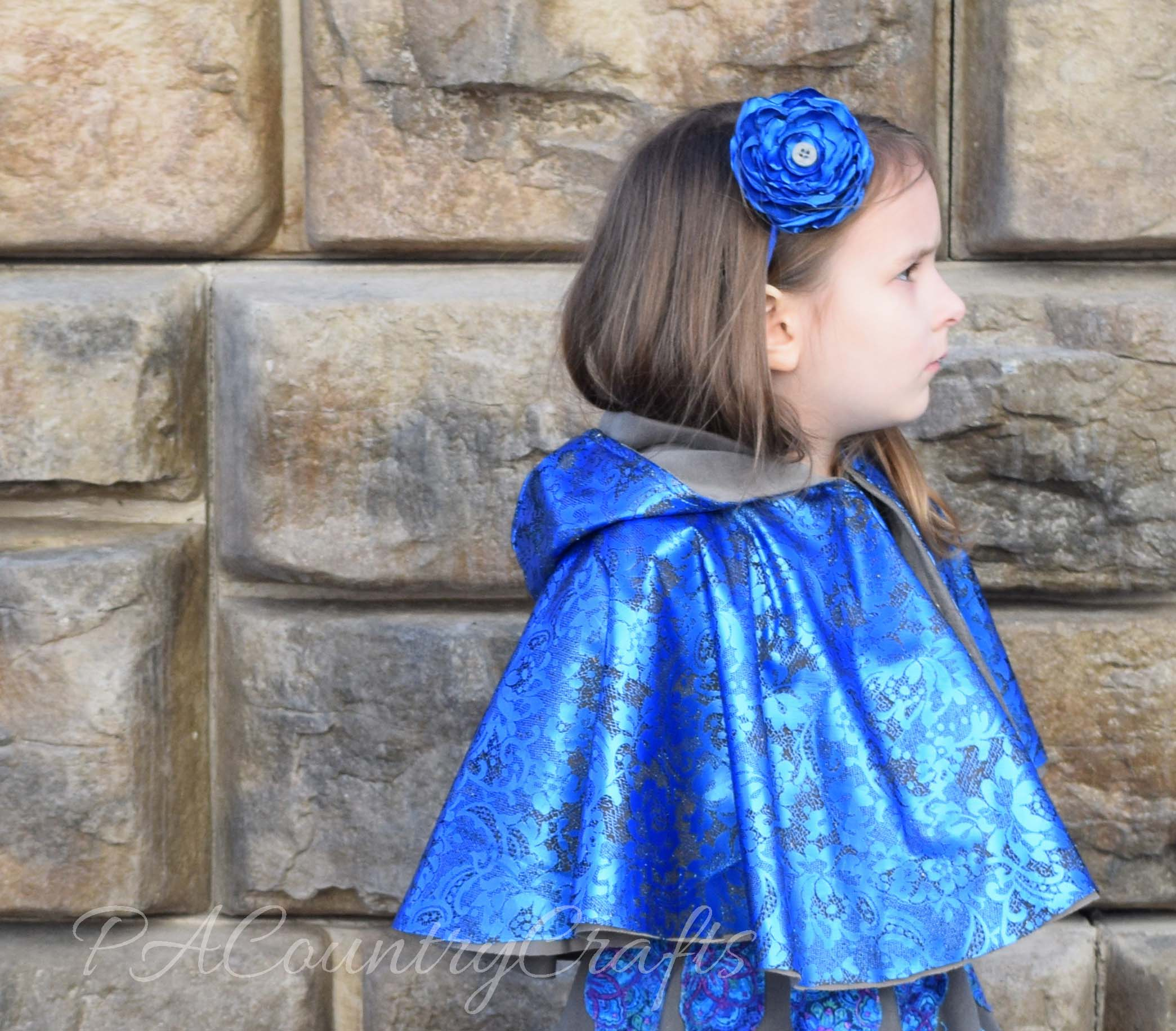 reversible blue metallic lace cape