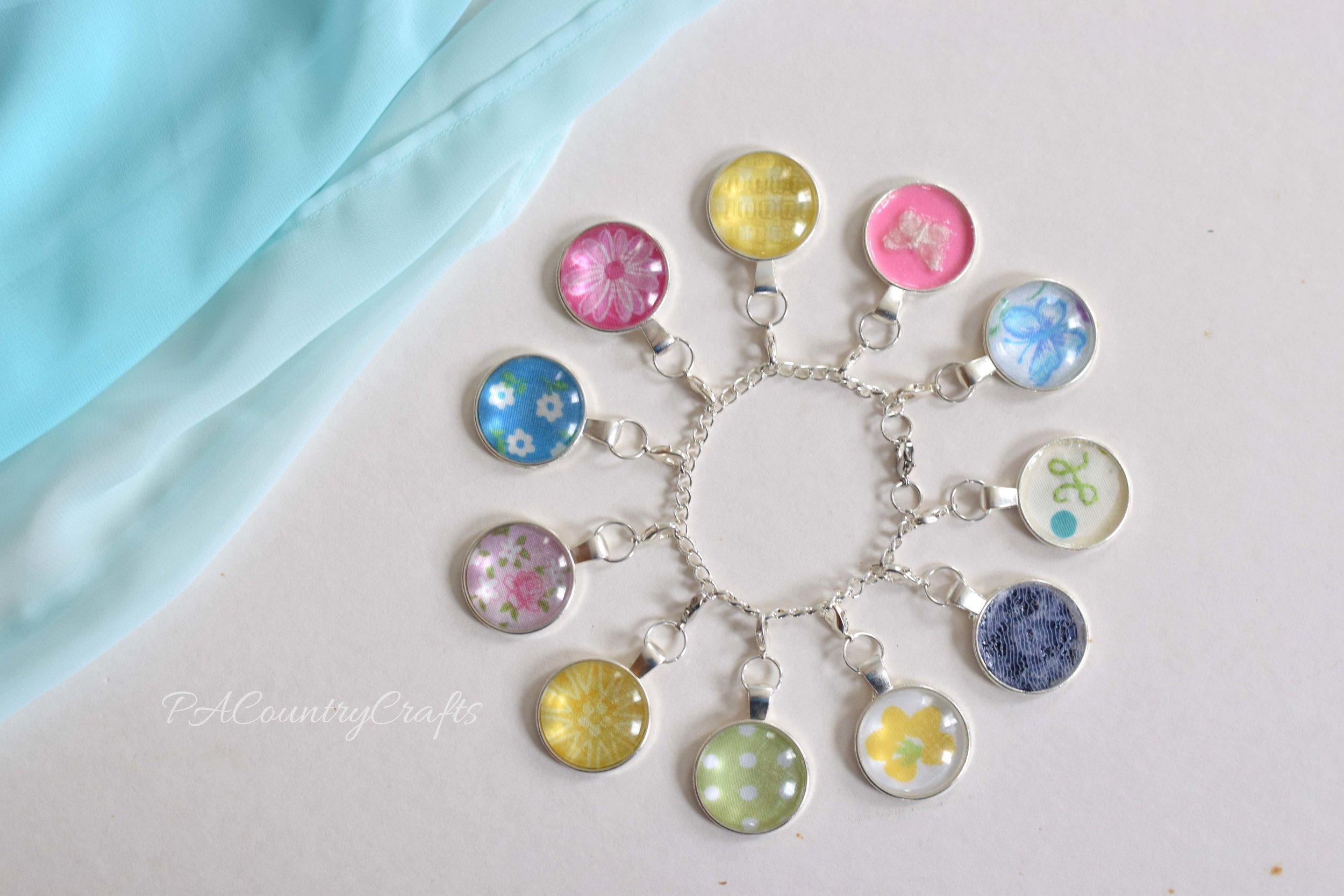 fabric scrap charm bracelet