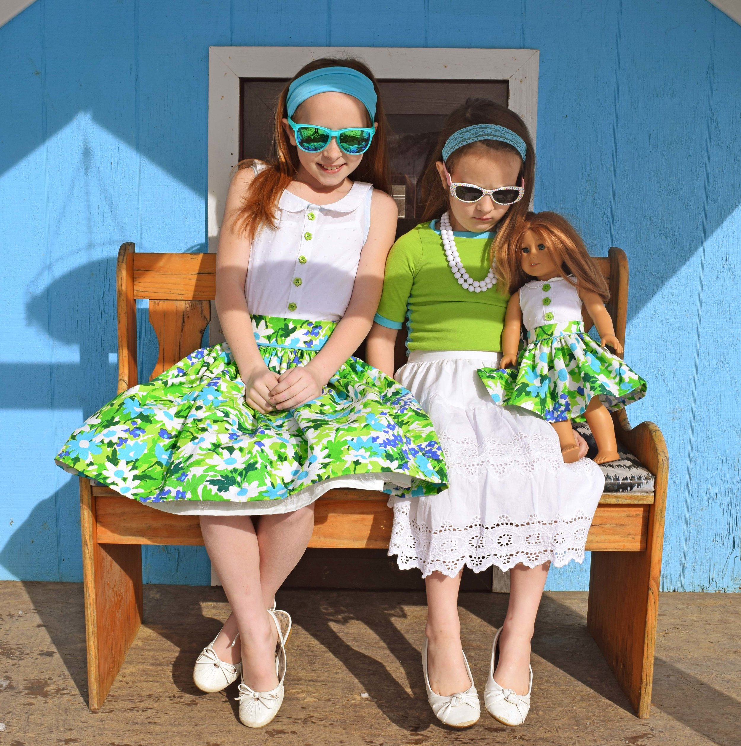 Adorable vintage style girls outfits made from upcycled materials