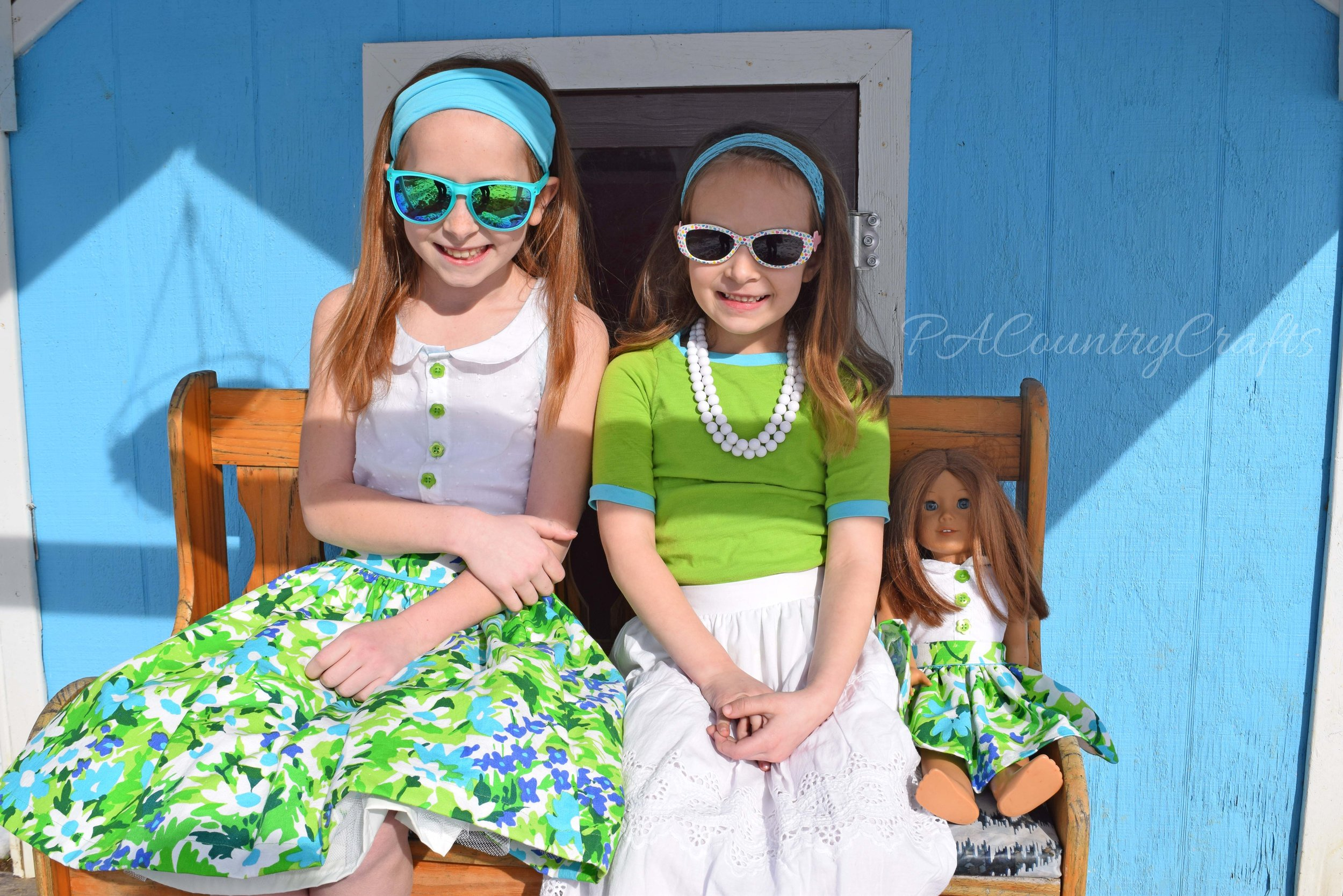 Cute vintage style girls clothes made from repurposed materials- there is even a matching doll set!