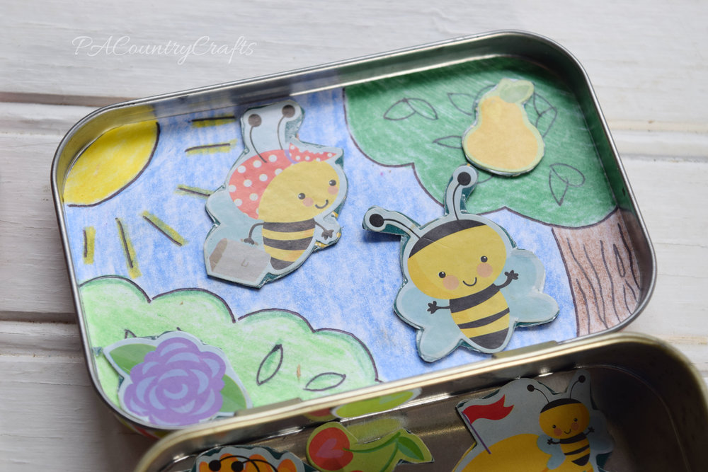 Magnetic stickers in an altoid tin- so easy to make!