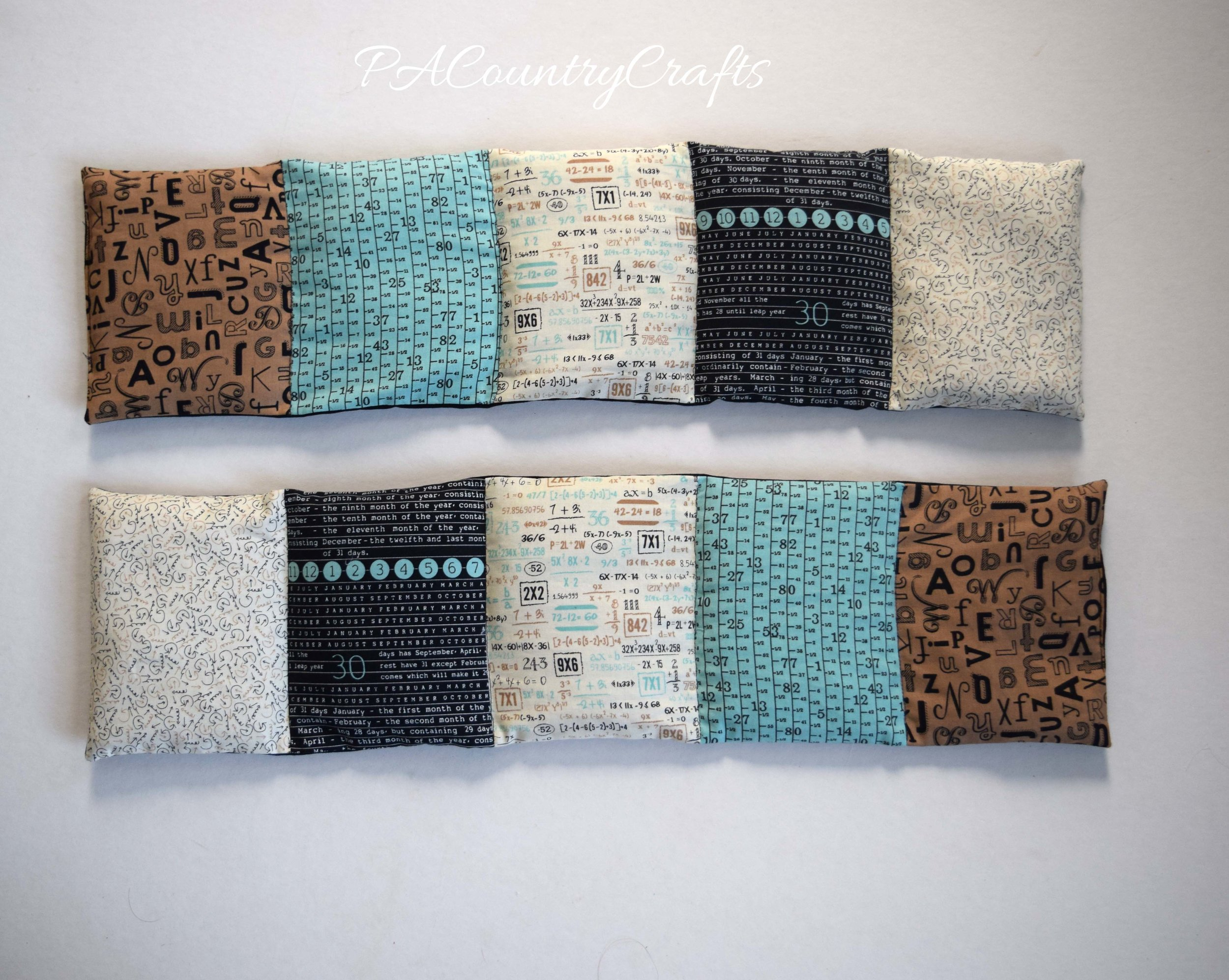 Neck warmer rice bags with stitched pockets to keep the rice in place and help it wrap around the neck.