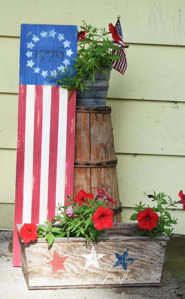 Rustic flag board porch decor for July 4th