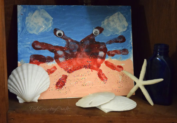 Adorable handprint crab kids canvas painting!