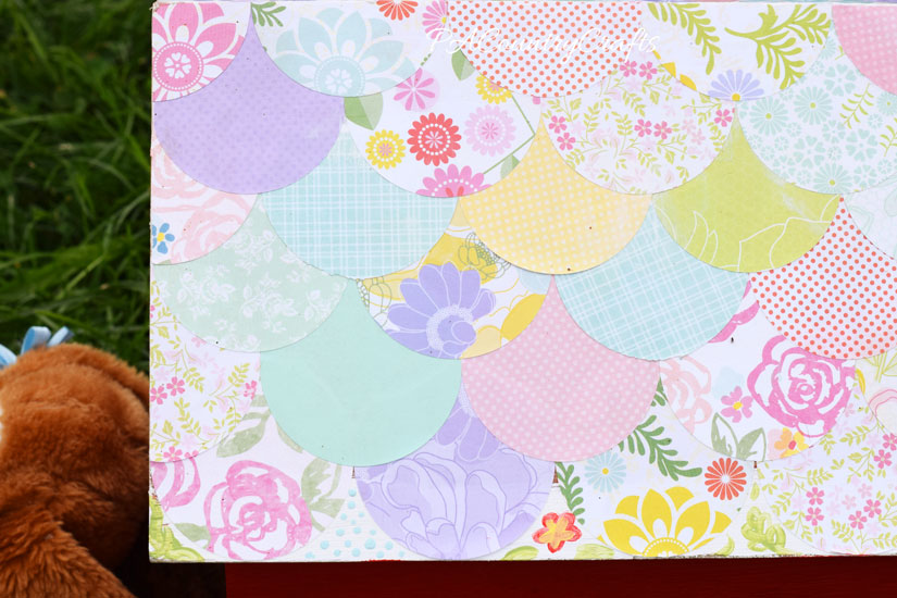 Scalloped Mod Podge roof made from scrapbook paper circles