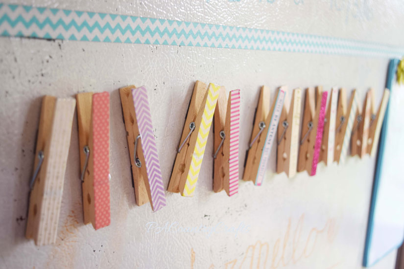 Washi tape clothespin magnets- easy craft project for kids or groups