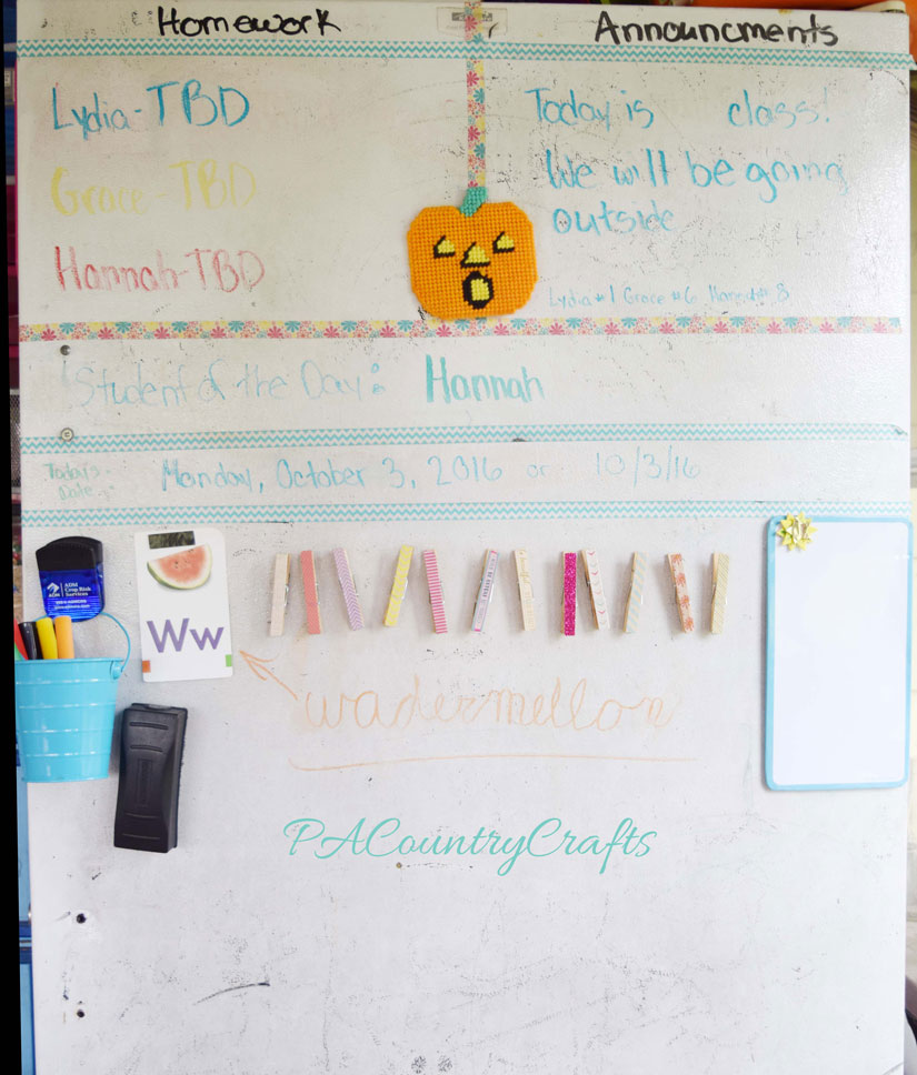 Washi tape for homeschooling- make sections on dry erase boards