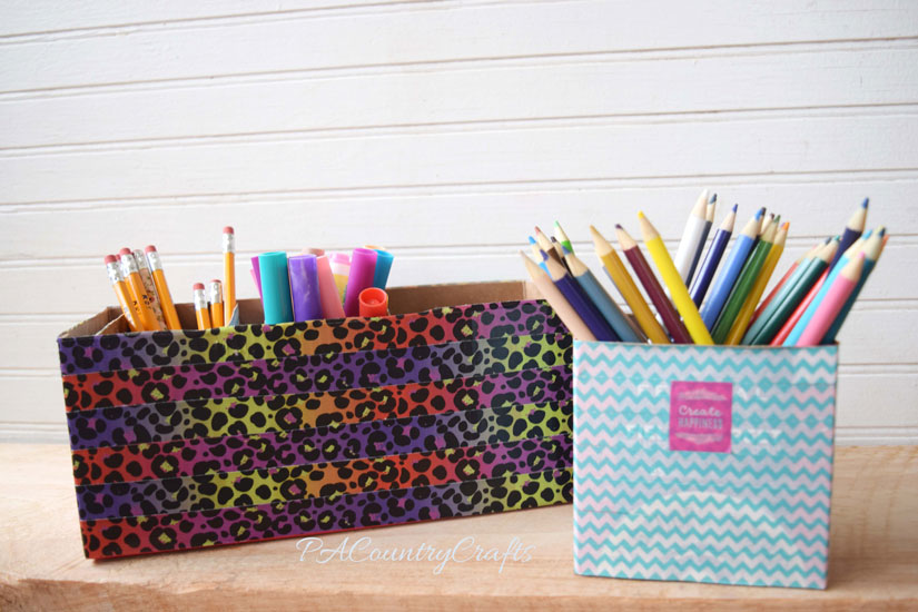 Washi tape on small boxes to sort school supplies