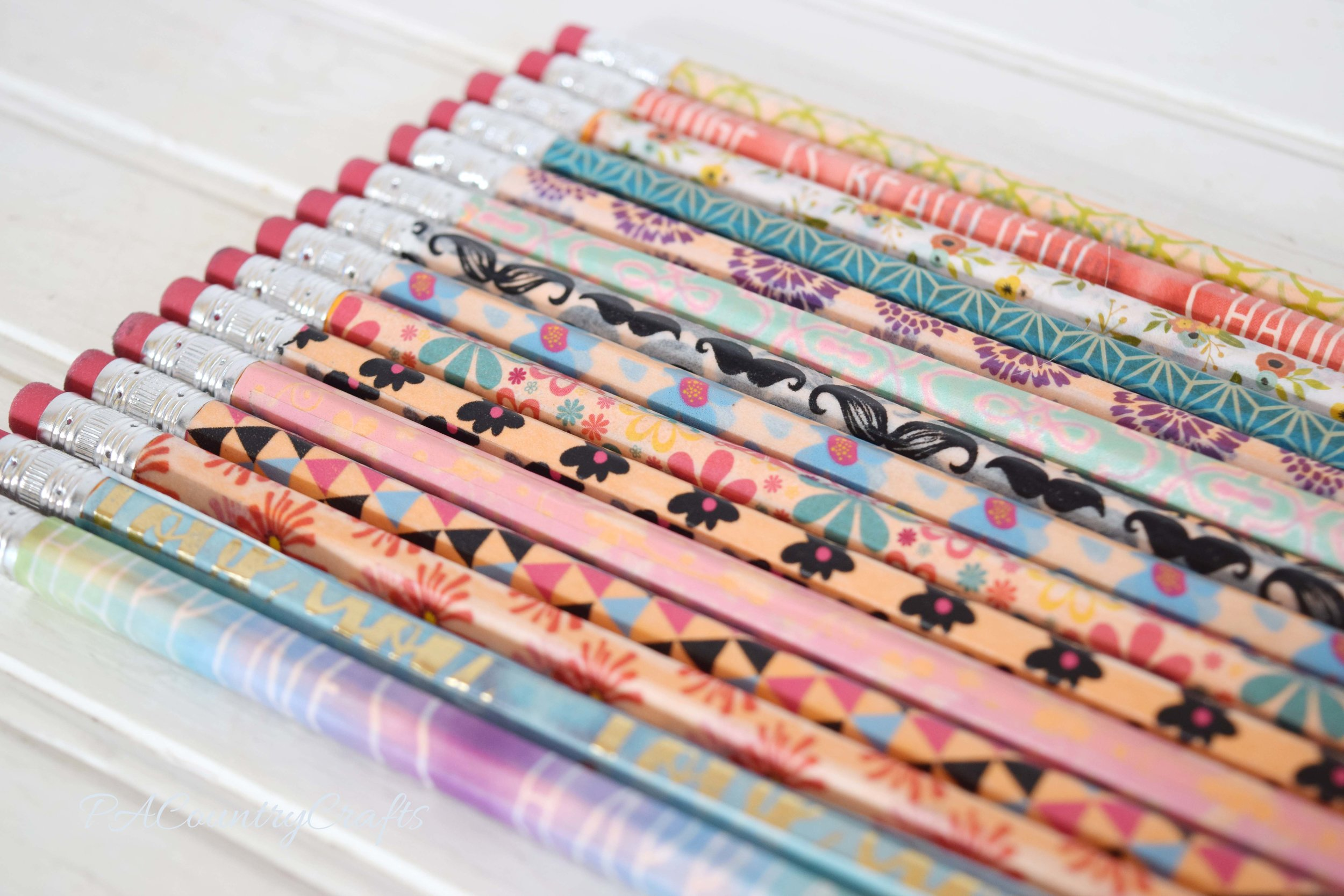 Washi tape makes boring, yellow pencils adorable!!!