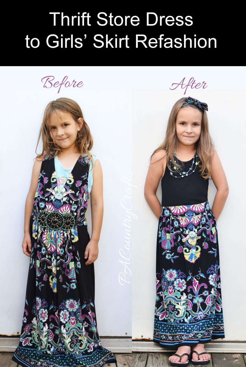 Before and after- refashion a women's dress to a girls' maxi skirt with this free tutorial!