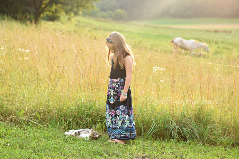Turn a thrift store dress into a girls' maxi skirt!