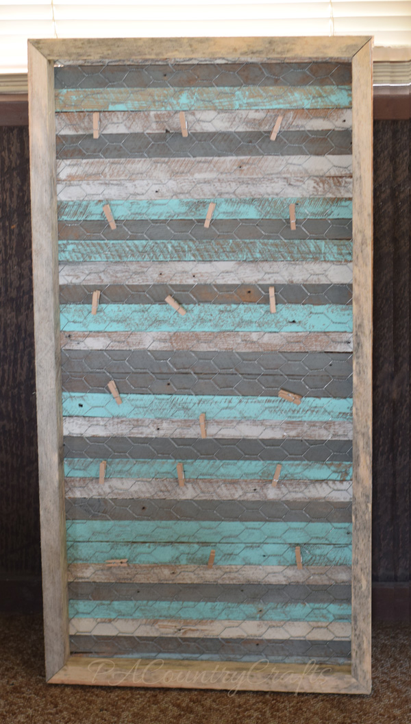 Rustic chicken wire photo display made from lath