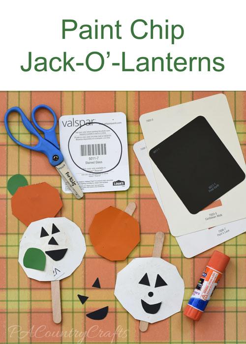 Paint Chip Jack O' Lanterns Preschool Craft