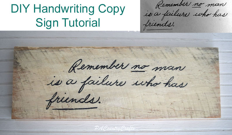 DIY Handwriting Copy Sign Tutorial