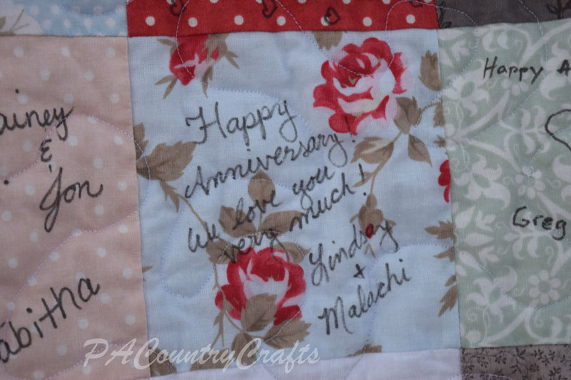 Anniversary Party Guest Book Signed Quilt
