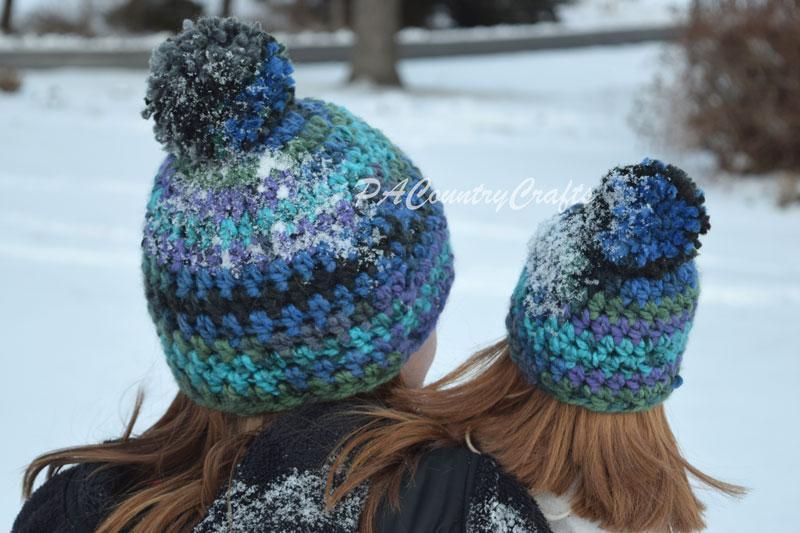 Crochet matching chunky beanie hats for girls and their dolls!