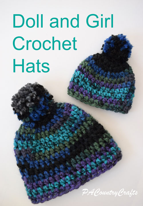 Crochet pattern for matching girl and doll hats