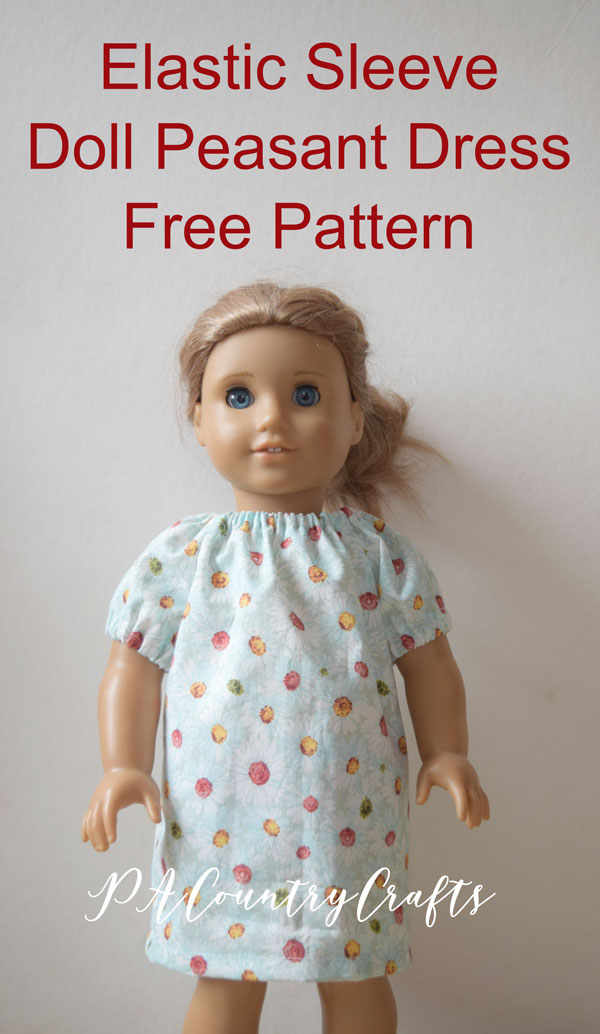 A free printable pattern for a doll peasant dress with elastic sleeves!