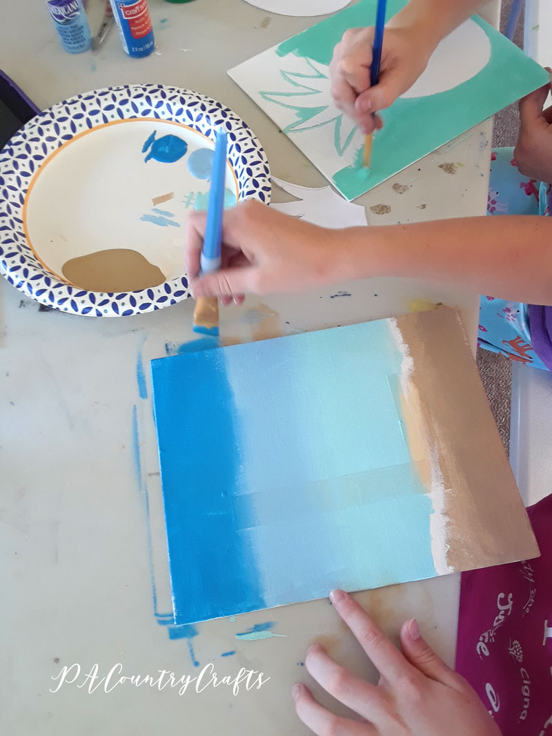 Kids beach canvas painting project
