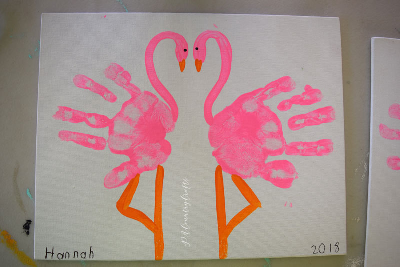 Preschool art project- handprint flamingos!