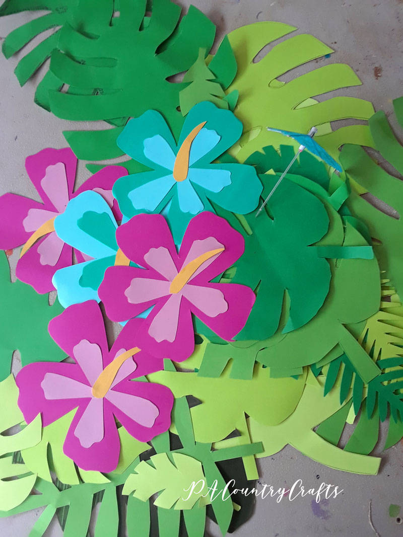 Paper cut-outs for a tropical beach party!