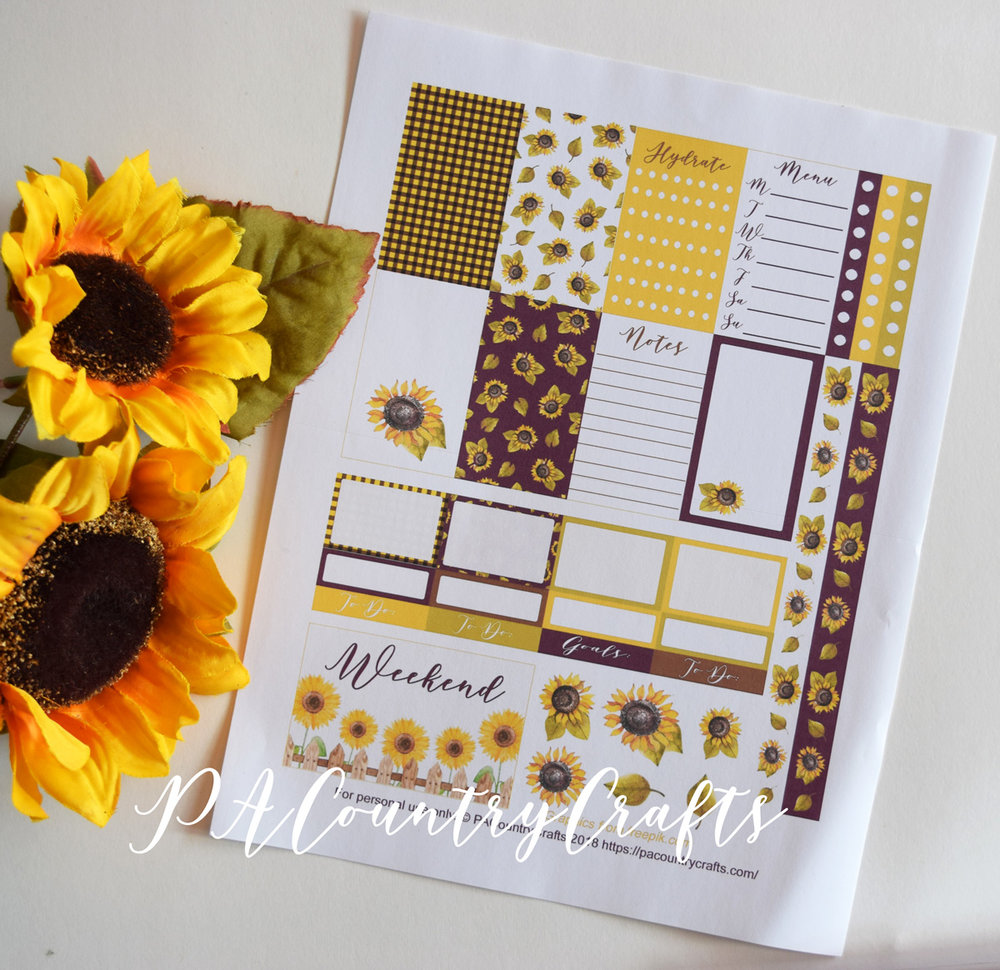 Free printable sunflower planner stickers designed to fit the classic Happy Planner.
