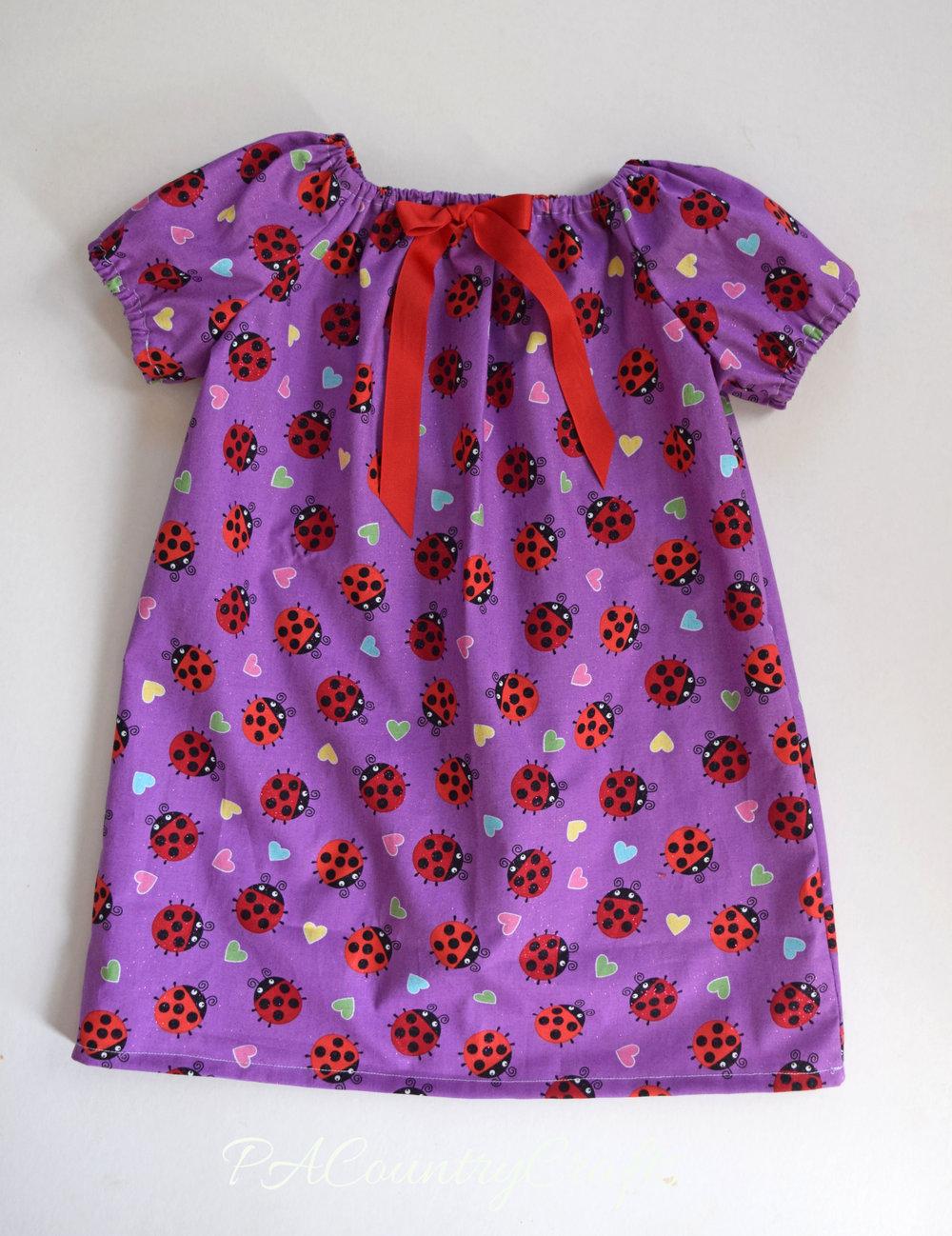 Girls' Elastic Sleeve Peasant Dress